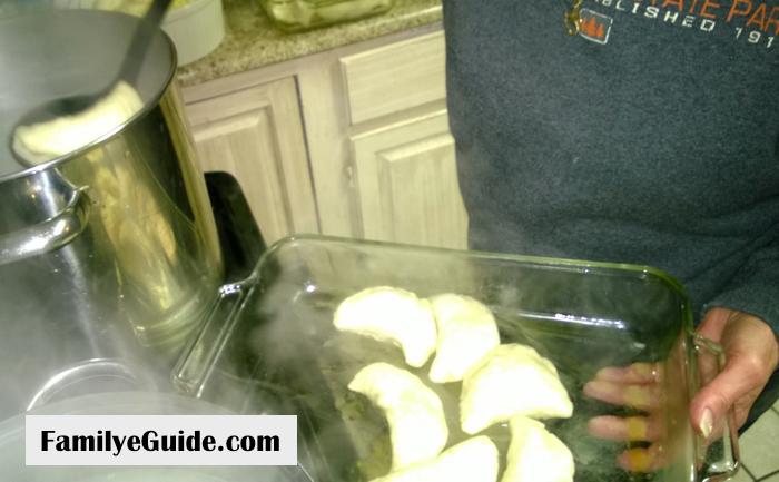 Dumplings Removing from Pan