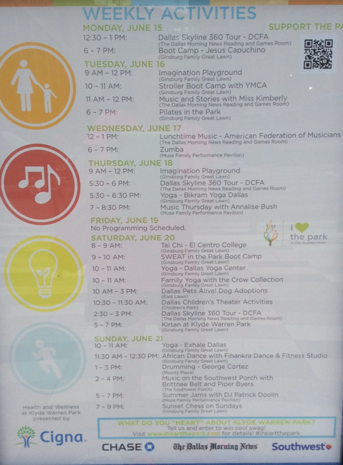 Klyde Warren Park Schedule