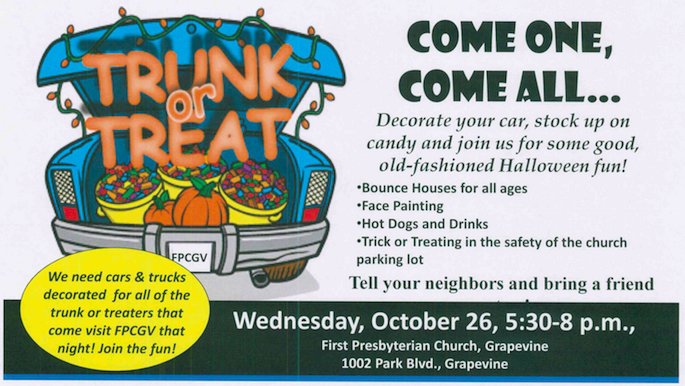 Trunk or Treat Grapevine @ First Presbyterian Church Grapevine | Grapevine | Texas | United States