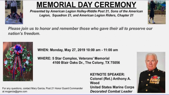 Memorial Day Ceremony The Colony @ Five Star Complex